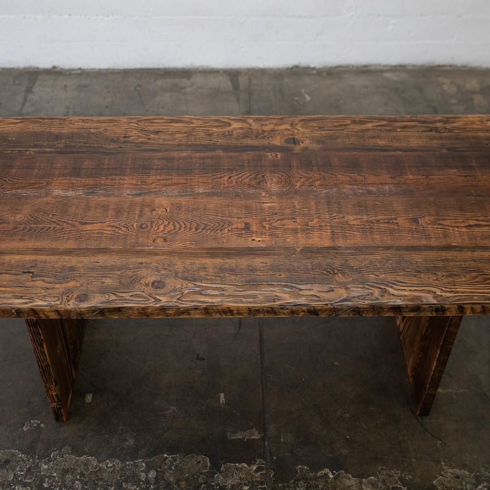 dark reclaimed wood farmhouse table