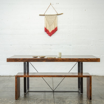 modern wood butcher block dining set and i love the free bird wall hanging