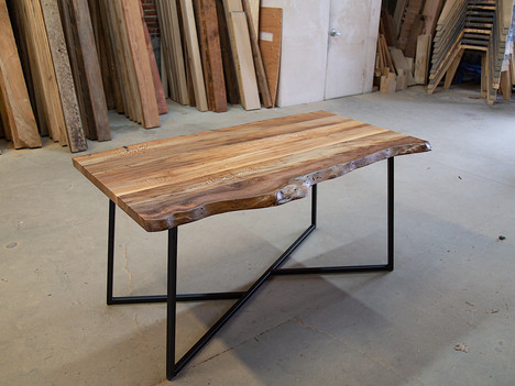 Live Edge Sycamore & Steel Dining Table - $2950