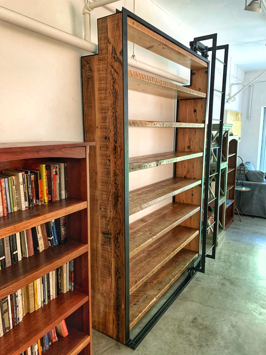 sliding ladder bookcase made in los angeles