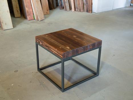 Reclaimed Butcher Block & Steel End Table - $800