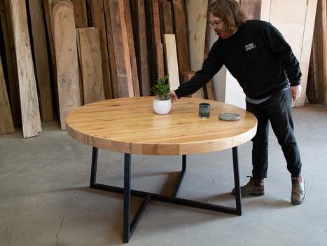 Round Butcher Block Pedestal Dining Table - $3150