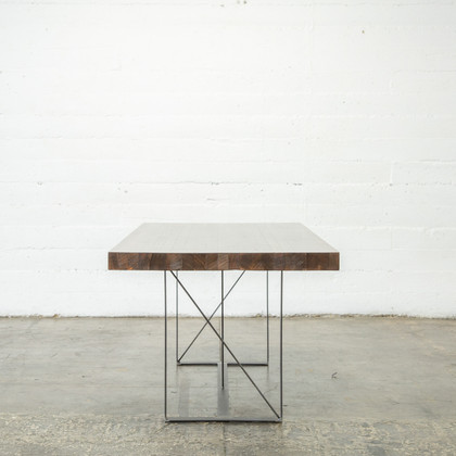 wood butcher block dining table
