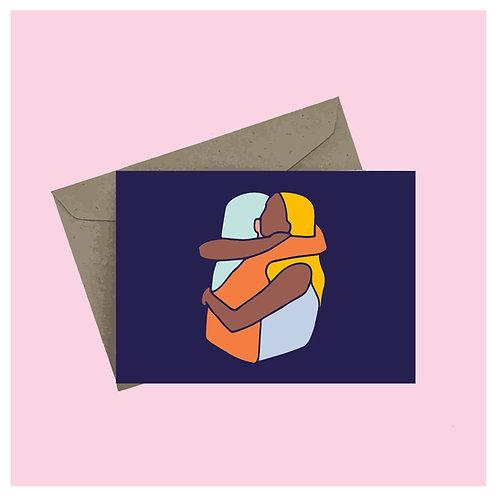 'Hug' greeting card - dark blue