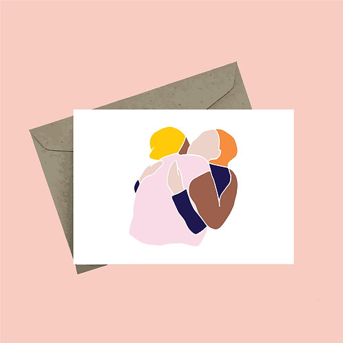 'Hug' greeting card - white background