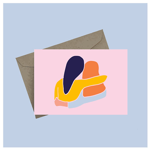 Hug greeting card - pink background