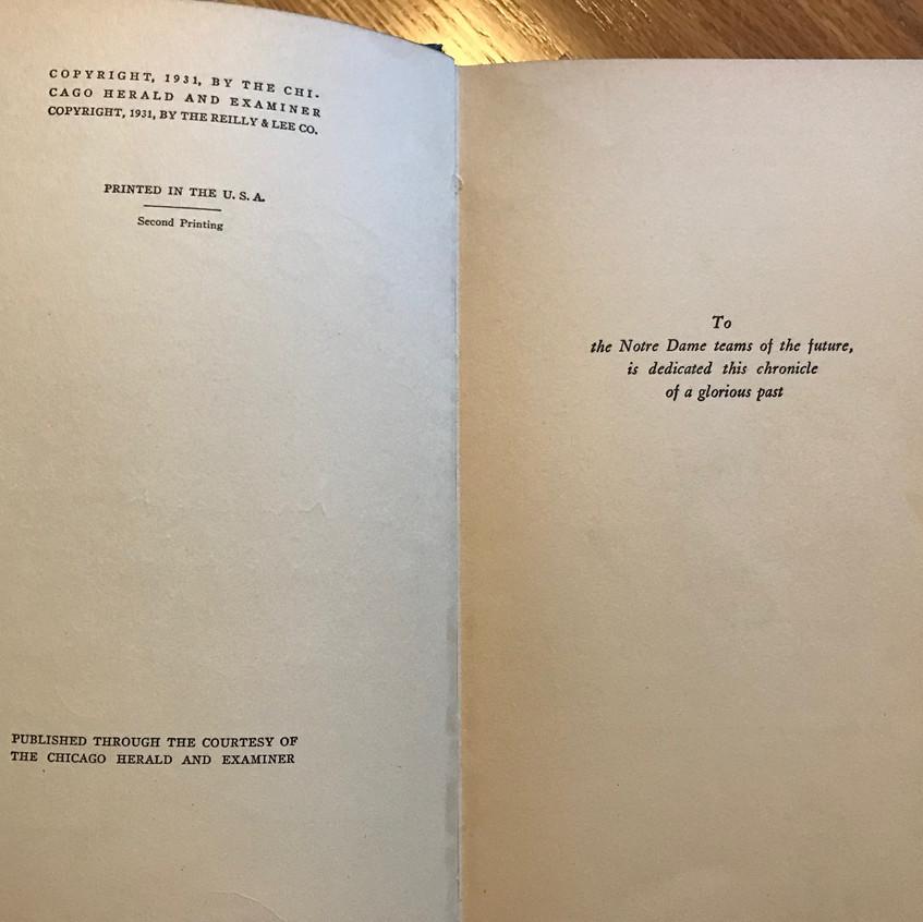 1931 Rockne Book Dedication Page