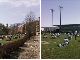 Springtime on Campus...A Tale of Two Pictures....
