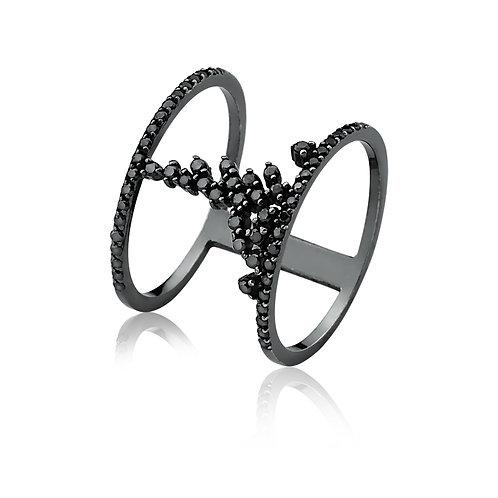 Anel Paralelo Diamante Negro
