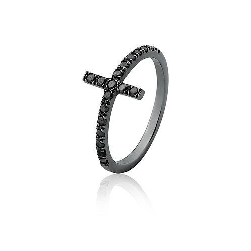 Anel Cruz de Diamante Negro