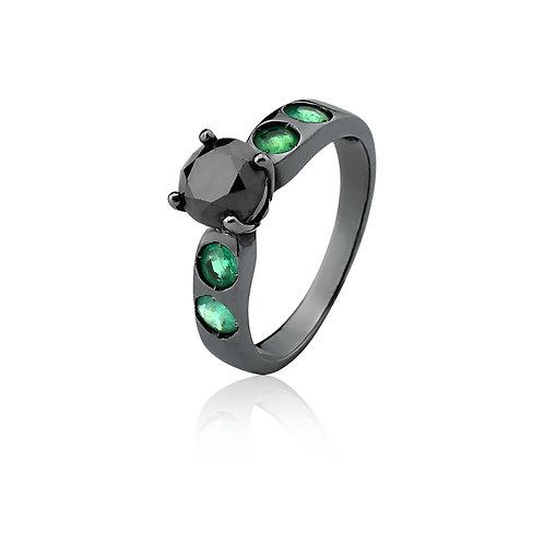 Solitário Diamante Negro com Esmeraldas