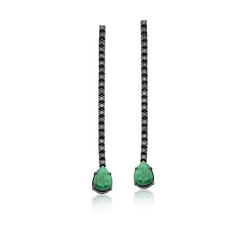Brinco Gota Esmeralda e Diamante Negro
