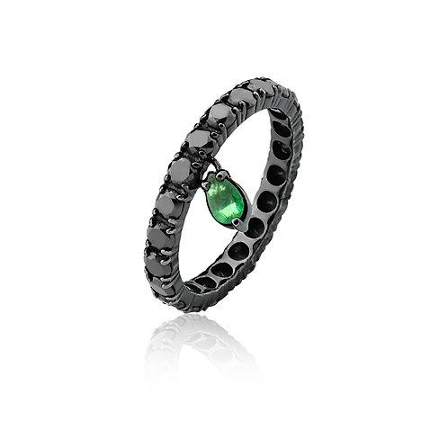 Aliança Diamante Negro com Gota Esmeralda