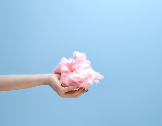 Hand with cotton candy Main avec Barbapapa