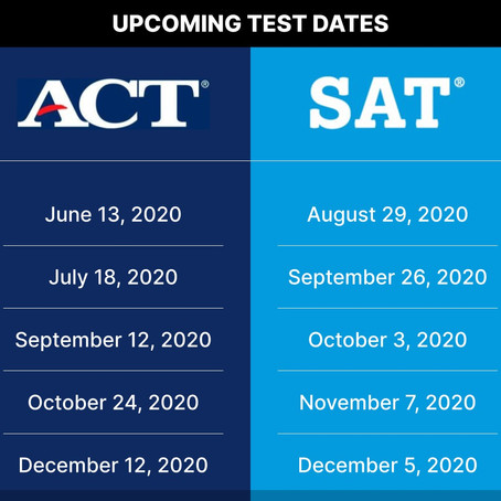 PSAT, SAT 1, SAT 2 and ACT Testing Updates