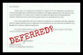 Q: Why do schools defer applicants?