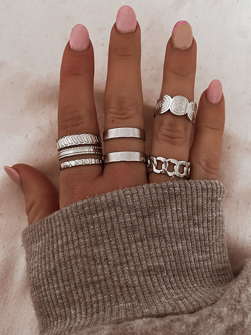 Pack 4 anillos flores plata