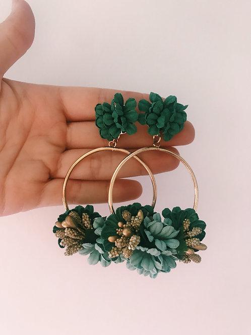Aro flores tonos verdes