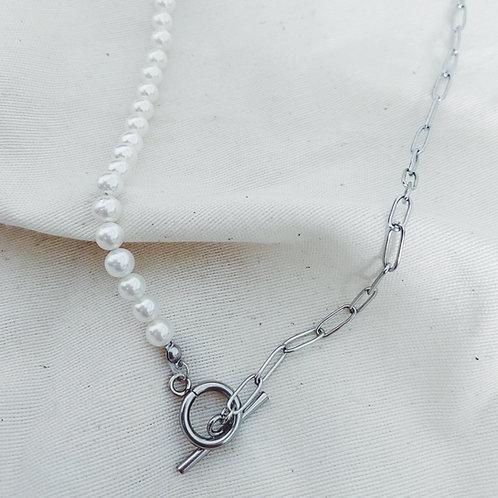 Perlas y eslabones peques plata