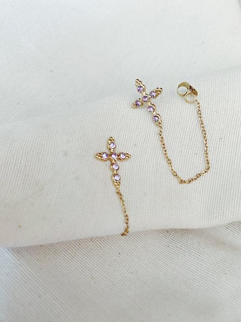 Cruz cadena lila