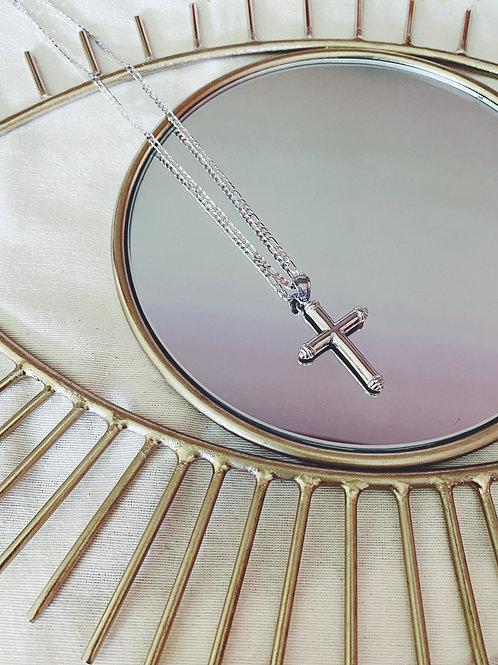 Cruz maxi plata+ cadenita 60cm