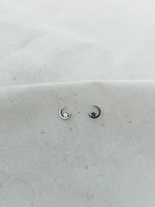 Mini luna y estrella plata