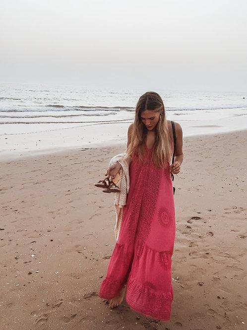 Vestido pareo rosa espalda abierta