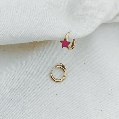 Mini arito estrella rosa