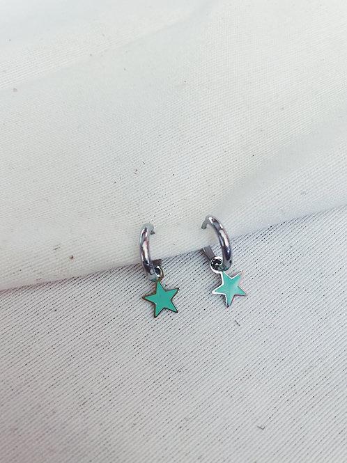Estrella turquesa plata