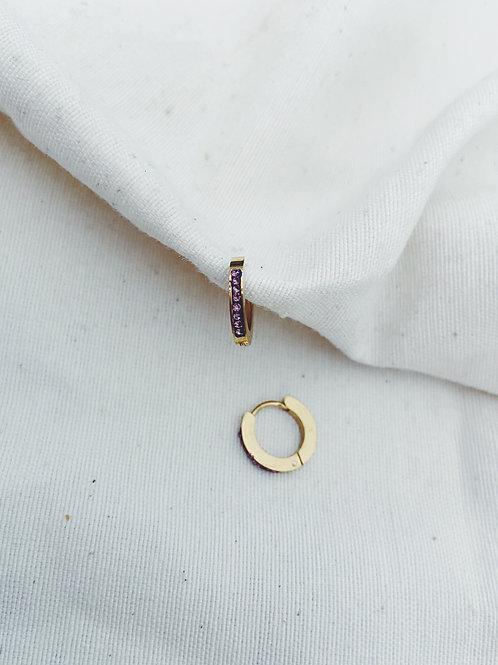 Aritos diamante lila