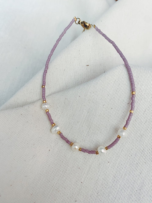Tobillera pearls Lila