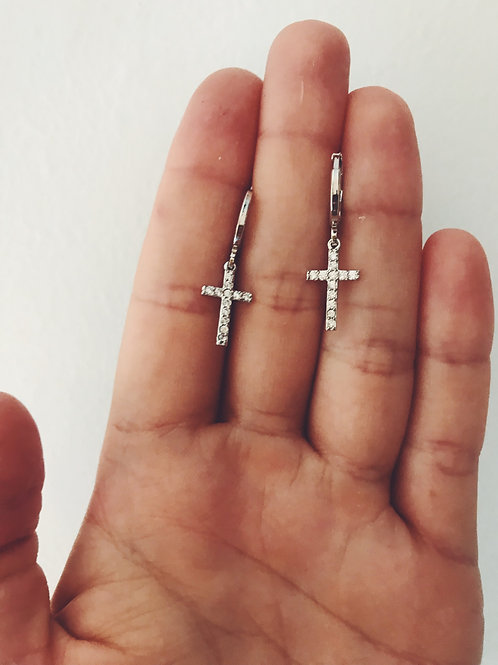 Cruces brillantes plata