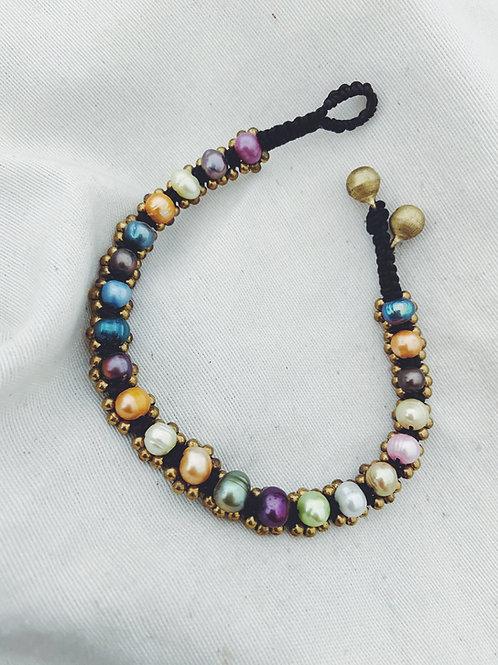 Tobillera perlas colores