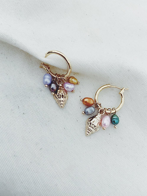Arito conchas y perlas colores