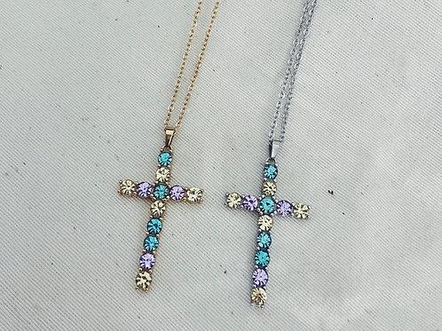 Cruz piedras preciosas lila