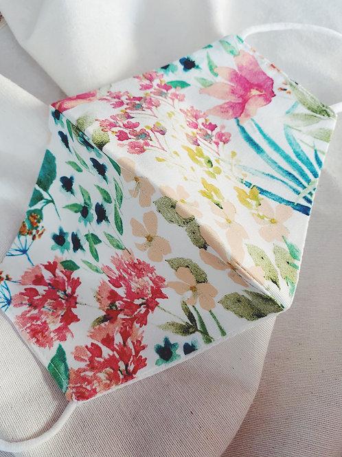 Mascarilla flores turquesas y rosas