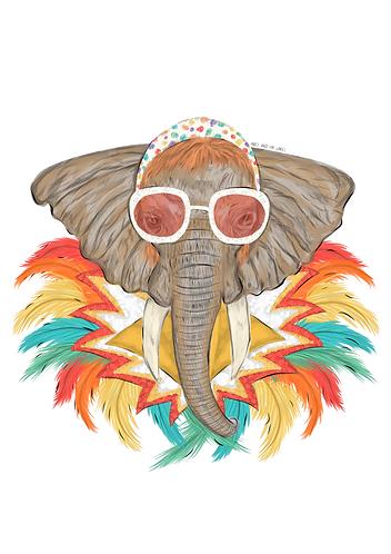 Elton The Elephant Art Print