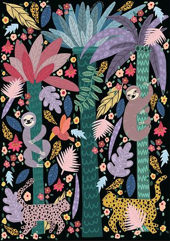 Colourful Jungle Sloth Print