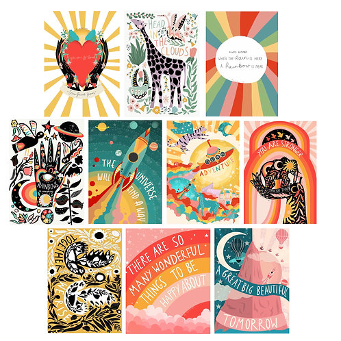 Positivity Postcards Pack Cute and Colourful