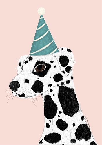Darcy The Party Dalmation Art Print