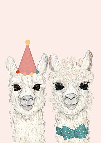 Larry and Lucille the Llama Art Print