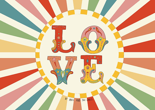 Love Rainbow Circus Art Print