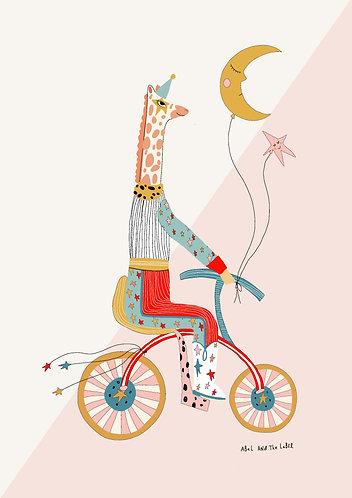 Giraffe On a Bike Art Print