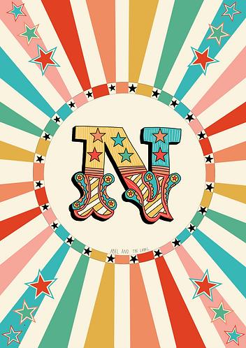 Circus Initial Art Print - N to Z