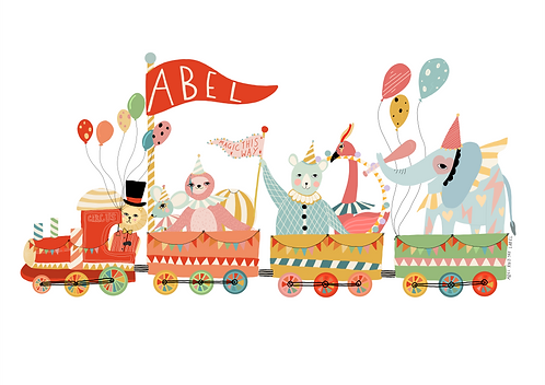Personalised Rainbow Train Print