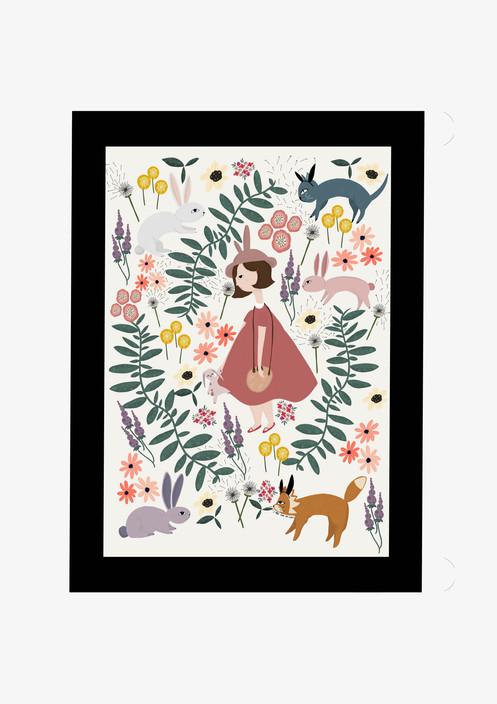 Bunny Rabbit Adventure Forest Art Print