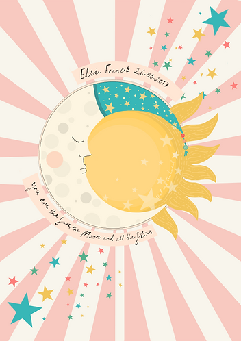 Personalised You Are The Sun Moon and Stars Print