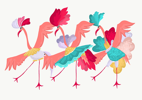 The Dancing Flamingos Art Print