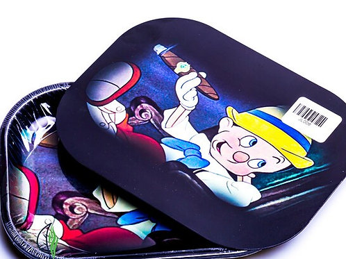 PINOCCHIO - SMALL METAL ROLLING TRAY WITH MAGNETIC LID