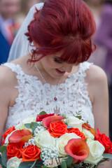 Bride & flowers